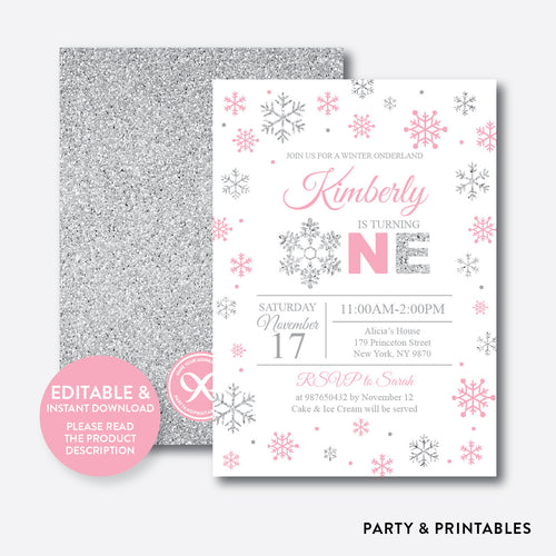 Winter Onederland Glitter 1st Birthday Invitation / Editable / Instant Download (GKB.02B)