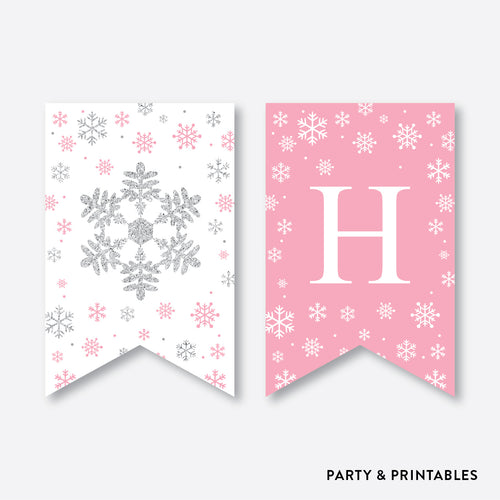 Winter Wonderland Party Banner / Happy Birthday Banner / Non-Personalized / Instant Download (GKB.02)
