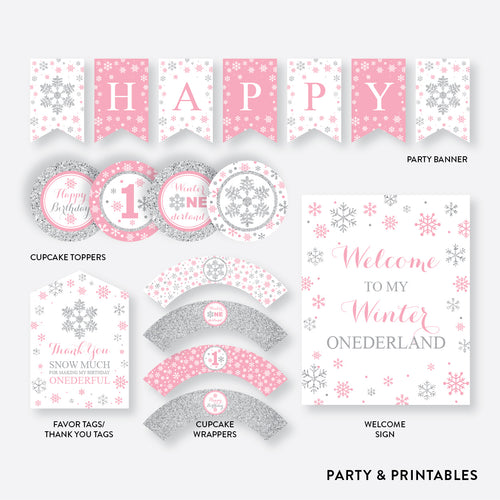Winter Wonderland Standard Kids Birthday Party Package / Non-Personalized / Instant Download (GKB.02)
