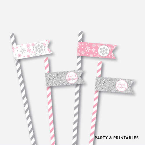 Winter Wonderland Straw Flags / Non-Personalized / Instant Download (GKB.02)