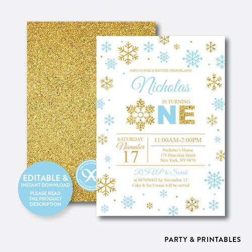 Winter Onederland Glitter 1st Birthday Invitation / Editable / Instant Download (GKB.03B)