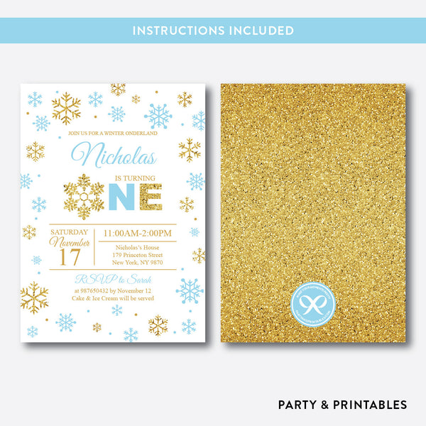 Winter Onederland Glitter 1st Birthday Invitation / Editable / Instant Download (GKB.03B), invitation - Party and Printables