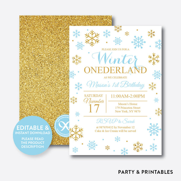 Winter Onederland Glitter Kids Birthday Invitation / Editable / Instant Download (GKB.03), invitation - Party and Printables