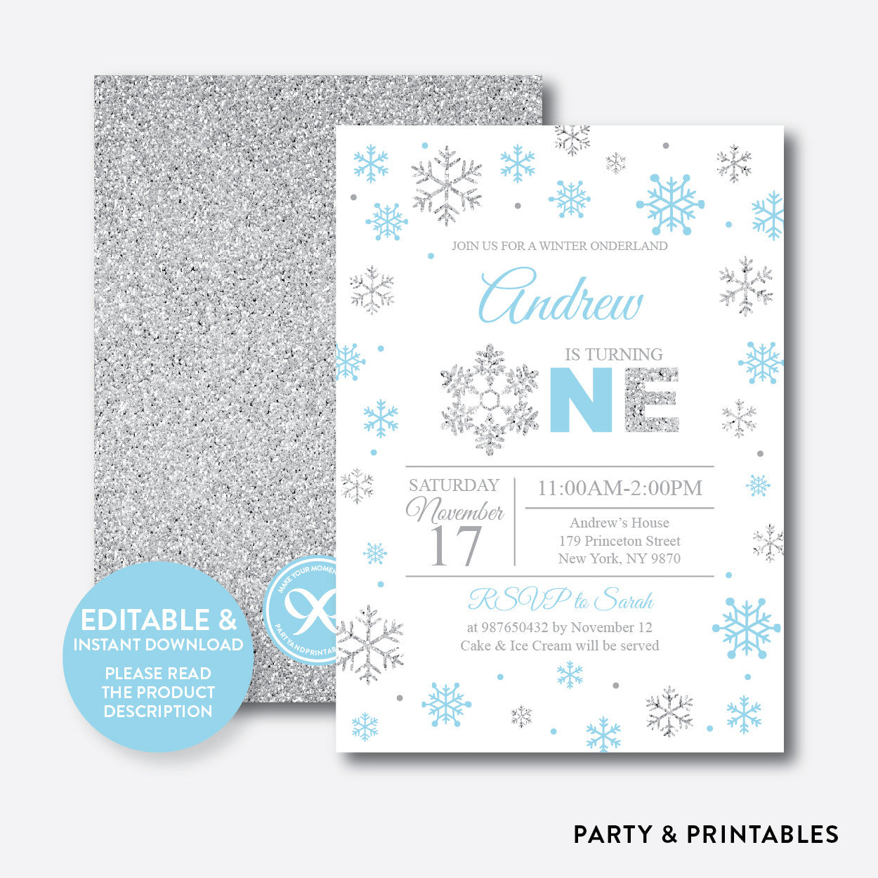 Winter Onederland Glitter 1st Birthday Invitation / Editable / Instant Download (GKB.04B), invitation - Party and Printables