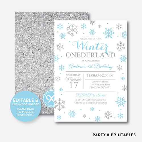 Winter Onederland Glitter Kids Birthday Invitation / Editable / Instant Download (GKB.04)
