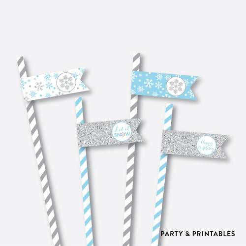Winter Wonderland Straw Flags / Non-Personalized / Instant Download (GKB.04)