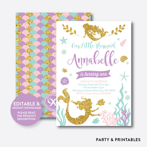 Mermaid Kids Birthday Invitation / Editable / Instant Download (GKB.05)