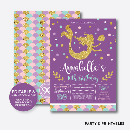 Mermaid Kids Birthday Invitation / Editable / Instant Download (GKB.06)