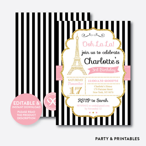 Paris Kids Birthday Invitation / Editable / Instant Download (GKB.07)