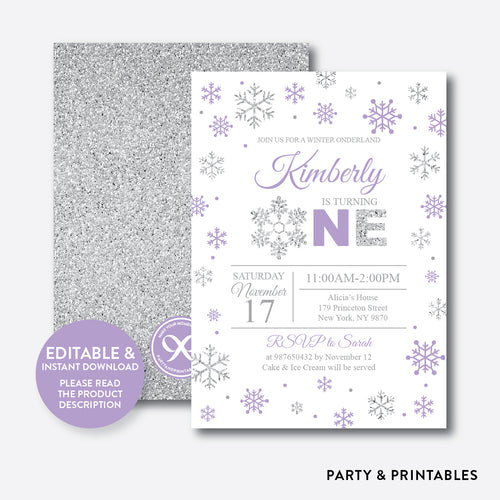 Winter Onederland Glitter 1st Birthday Invitation / Editable / Instant Download (GKB.08B)