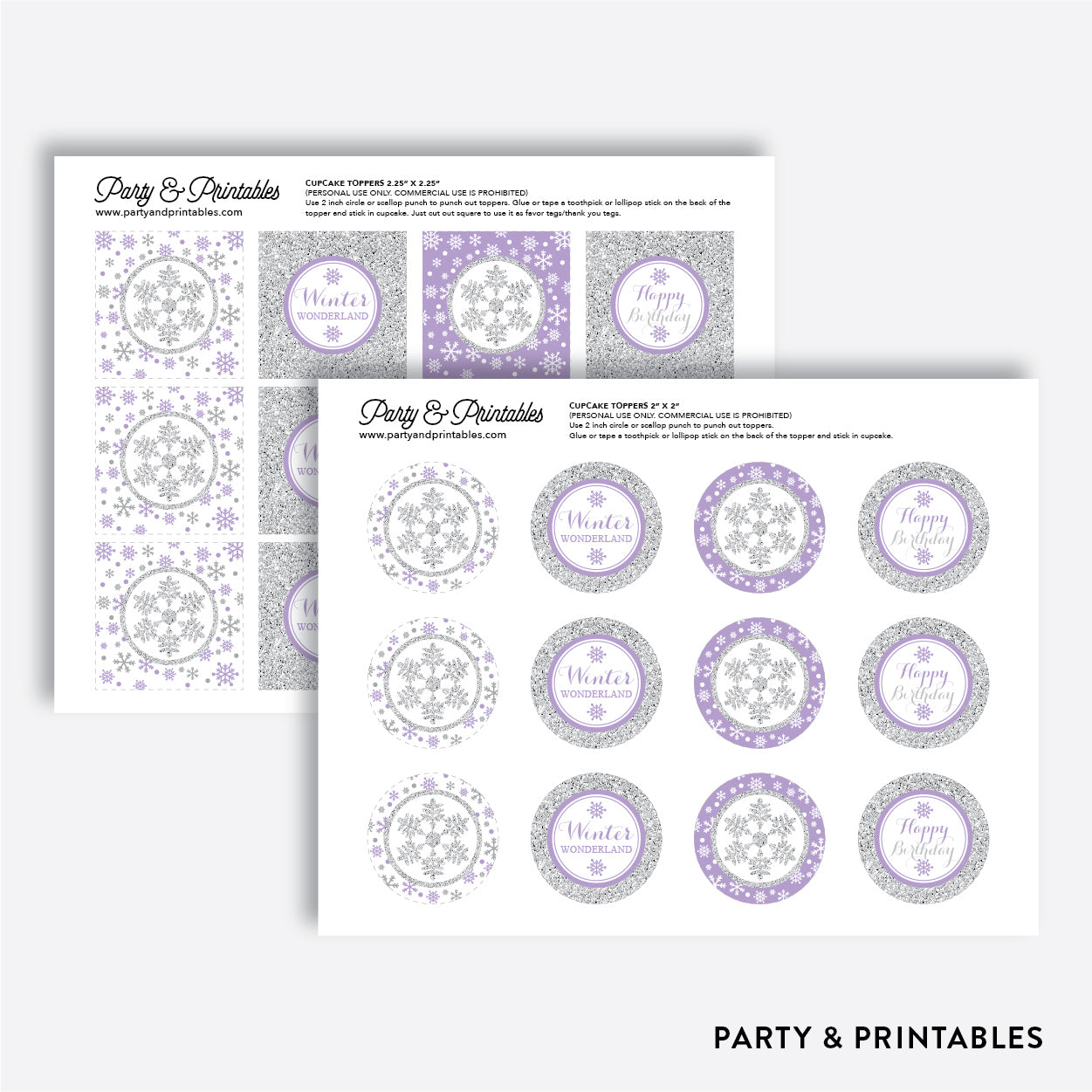 Winter Wonderland Cupcake Toppers / Non-Personalized / Instant Download (GKB.08), party printables - Party and Printables
