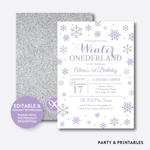 Winter Onederland Glitter Kids Birthday Invitation / Editable / Instant Download (GKB.08)