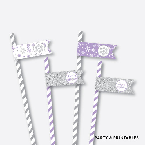 Winter Wonderland Straw Flags / Non-Personalized / Instant Download (GKB.08)