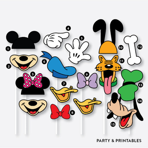 39 Pieces Disney Inspired Photo Booth Props + 1 Photo Booth Sign / Instant Download (PBP.01A), photo booth props - Party and Printables