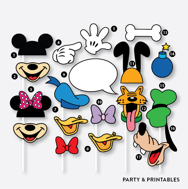 17 Pieces Disney Inspired Photo Booth Props / Instant Download (PBP.01B), photo booth props - Party and Printables