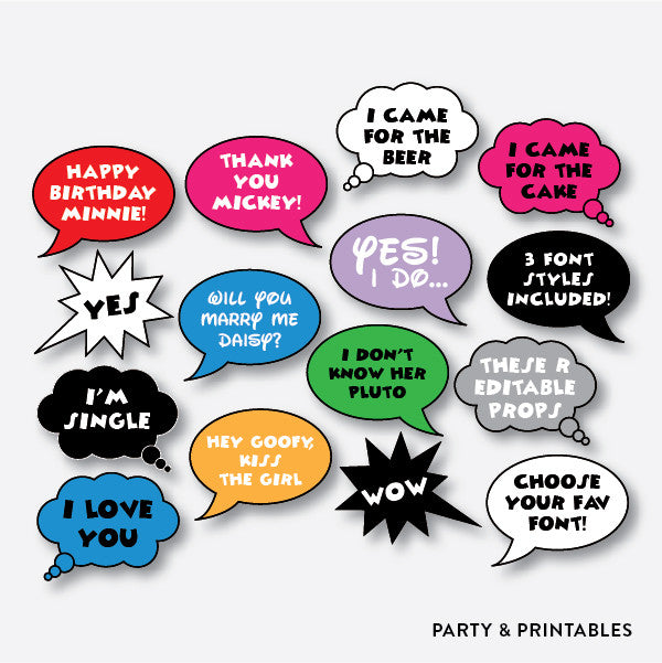 Speech Bubble Photo Booth Props / Editable / Instant Download (PBP.03), photo booth props - Party and Printables