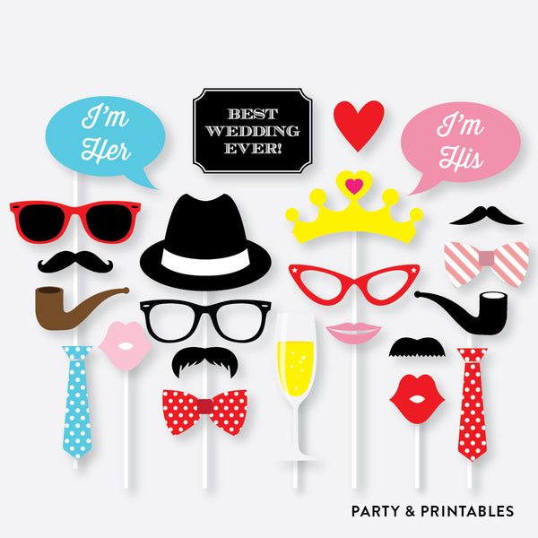 Wedding Photo Booth Props + Photo Booth Sign / Instant Download (PBP.04), photo booth props - Party and Printables