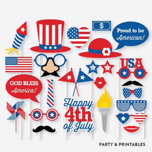 4th of July Photo Booth Props + Photo Booth Sign / Instant Download (PBP.05)