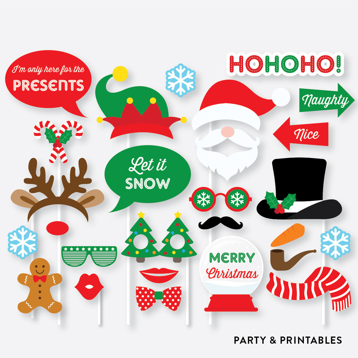 Christmas Photo Booth Props + Photo Booth Sign / Instant Download (PBP.06), photo booth props - Party and Printables