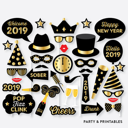 New Year Photo Booth Props + Photo Booth Sign / Instant Download (PBP.07)