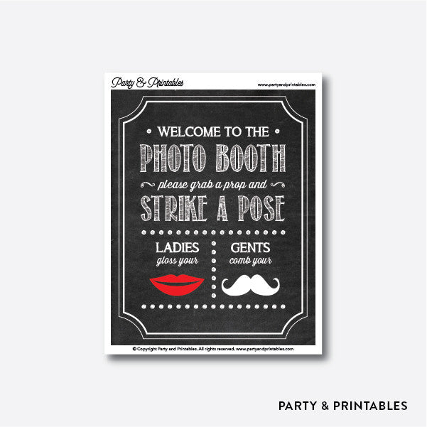 Mustache Photo Booth Sign / Instant Download (PBS.02), photo booth props - Party and Printables