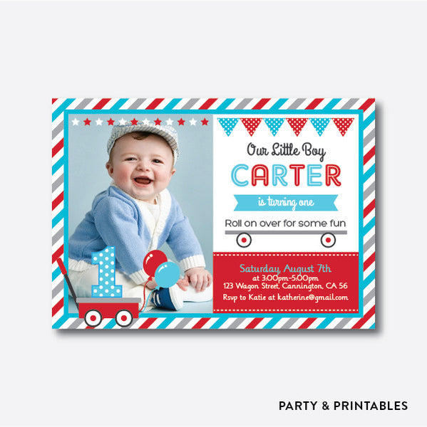Red Wagon Photo Kids Birthday Invitation / Personalized (PKB.02), invitation - Party and Printables