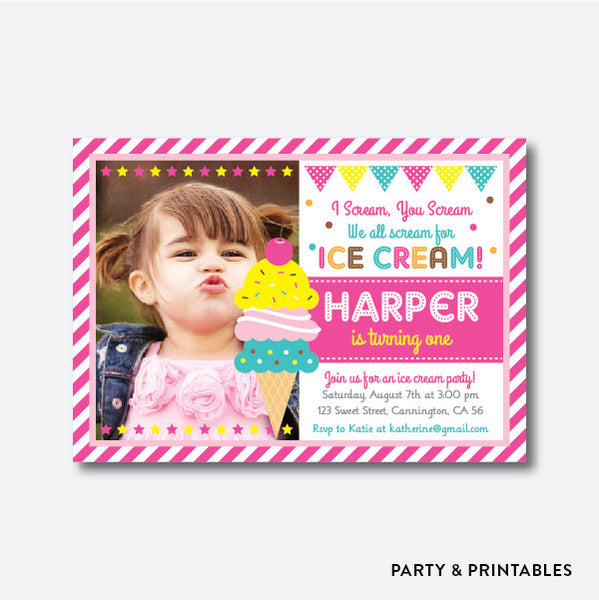 Ice Cream Photo Kids Birthday Invitation / Personalized (PKB.03), invitation - Party and Printables