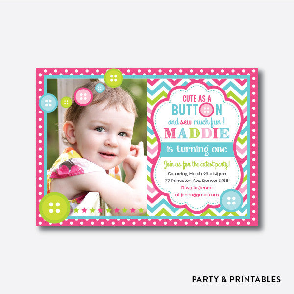 Cute as A Button Photo Kids Birthday Invitation / Personalized (PKB.04)