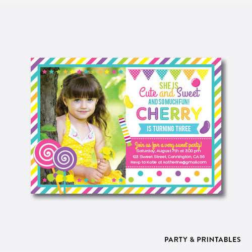 Lollipop Photo Kids Birthday Invitation / Personalized (PKB.05)