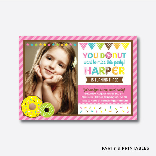 Donut Pink Photo Kids Birthday Invitation / Personalized (PKB.08)