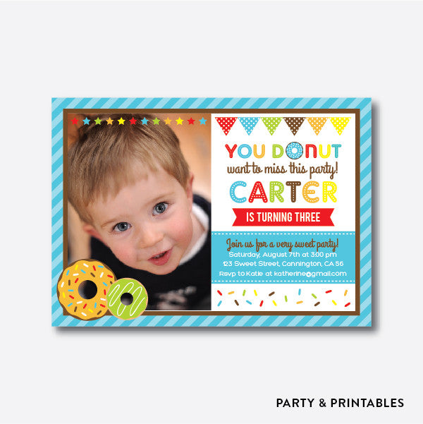 Donut Blue Photo Kids Birthday Invitation / Personalized (PKB.09)