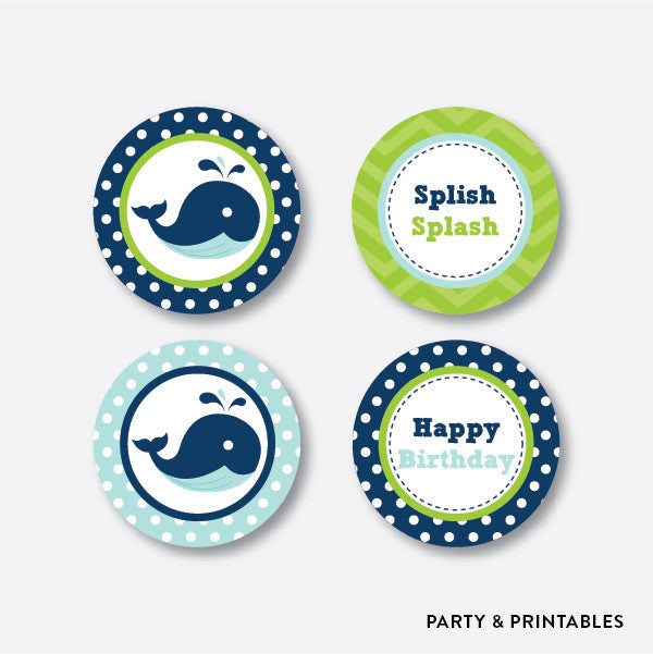 Whale Cupcake Toppers / Non-Personalized / Instant Download (PKB.10), party printables - Party and Printables
