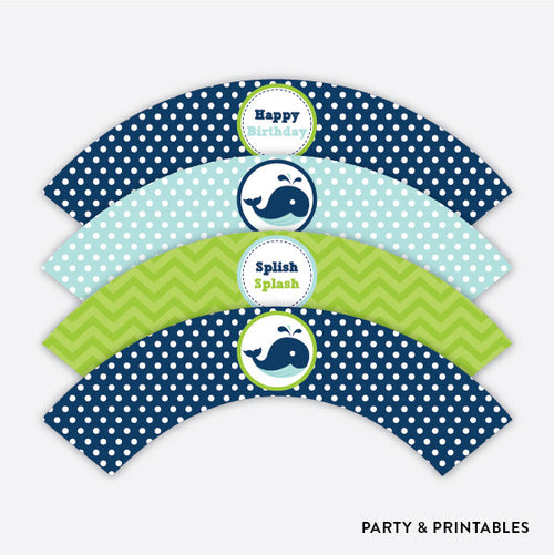 Whale Cupcake Wrappers / Non-Personalized / Instant Download (PKB.10)