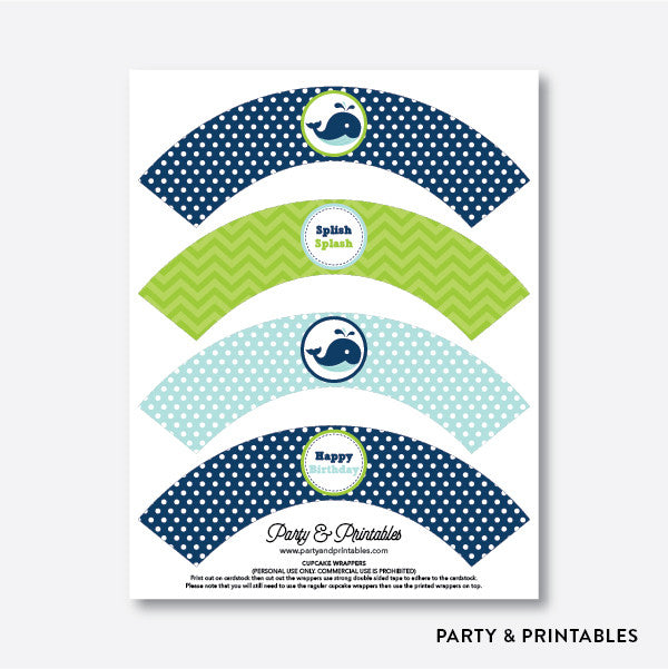 Whale Cupcake Wrappers / Non-Personalized / Instant Download (PKB.10), party printables - Party and Printables
