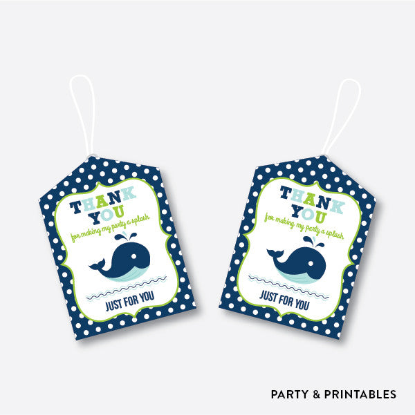 Whale Blue Favor Tags / Non-Personalized / Instant Download (PKB.10)