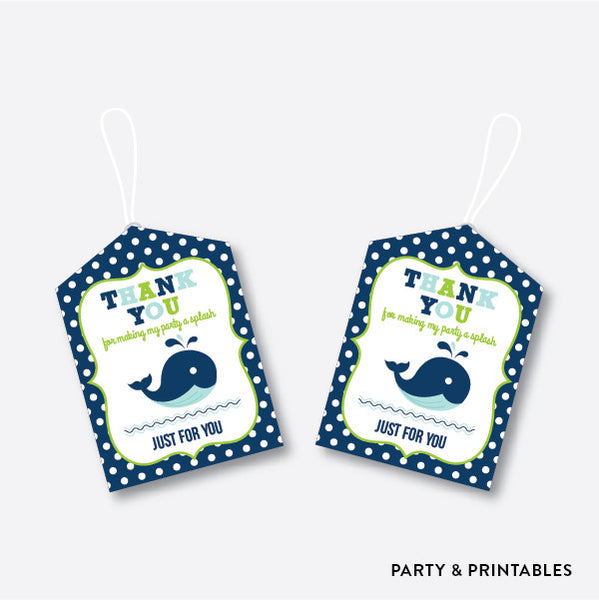 Whale Favor Tags / Non-Personalized / Instant Download (PKB.10), party printables - Party and Printables