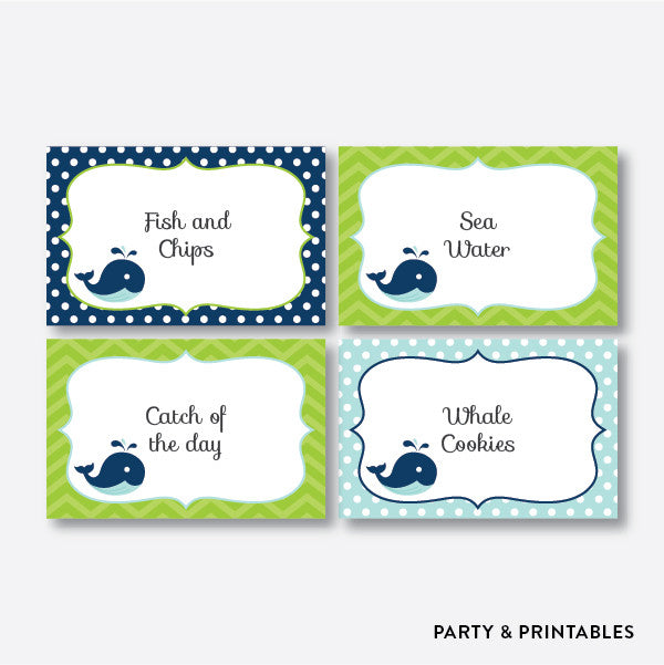Whale Blue Food Labels / Editable / Instant Download (PKB.10)