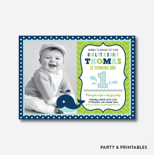 Whale Blue Photo Kids Birthday Invitation / Personalized (PKB.10)