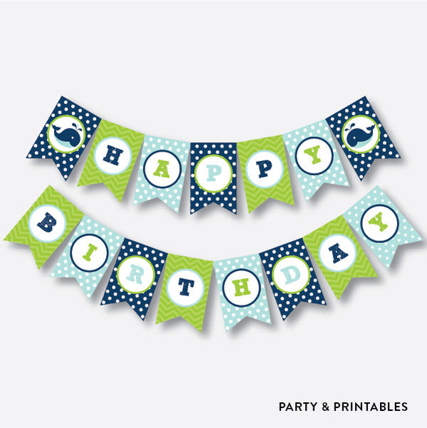 Whale Party Banner / Happy Birthday Banner / Non-Personalized / Instant Download (PKB.10), party printables - Party and Printables