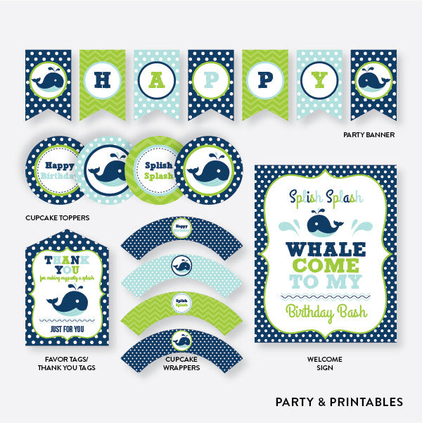 Whale Blue Standard Kids Birthday Party Package / Non-Personalized / Instant Download (PKB.10)