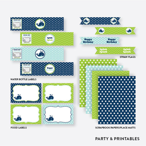 Whale Standard Kids Birthday Party Package / Non-Personalized / Instant Download (PKB.10), party package - Party and Printables