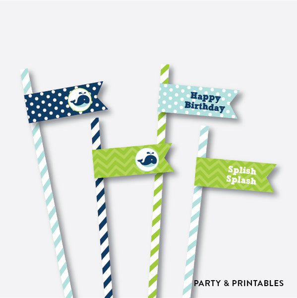 Whale Straw Flags / Non-Personalized / Instant Download (PKB.10), party printables - Party and Printables