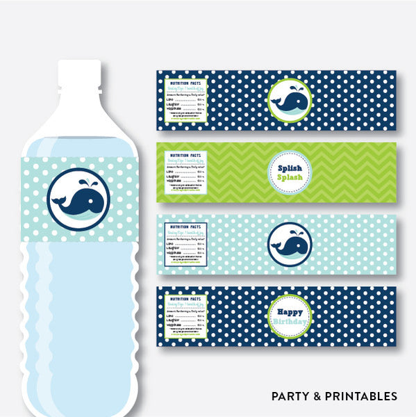 Whale Water Bottle Labels / Non-Personalized / Instant Download (PKB.10), party printables - Party and Printables