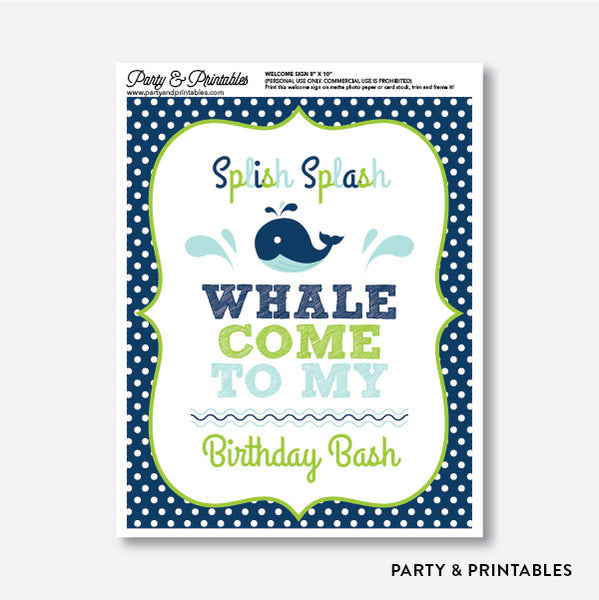 Whale Welcome Sign / Non-Personalized / Instant Download (PKB.10), party printables - Party and Printables