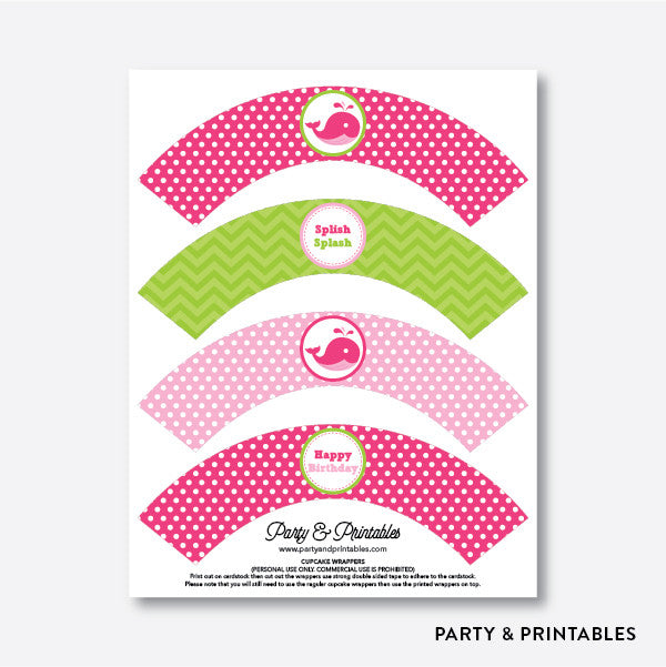 Whale Cupcake Wrappers / Non-Personalized / Instant Download (PKB.11), party printables - Party and Printables