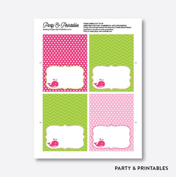 Whale Food Labels / Editable / Instant Download (PKB.11), party printables - Party and Printables