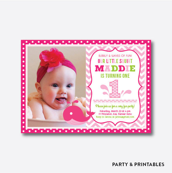 Whale Pink Photo Kids Birthday Invitation / Personalized (PKB.11), invitation - Party and Printables