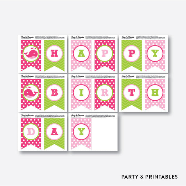 Whale Party Banner / Happy Birthday Banner / Non-Personalized / Instant Download (PKB.11), party printables - Party and Printables