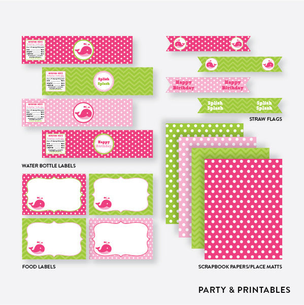 Whale Standard Kids Birthday Party Package / Non-Personalized / Instant Download (PKB.11), party package - Party and Printables