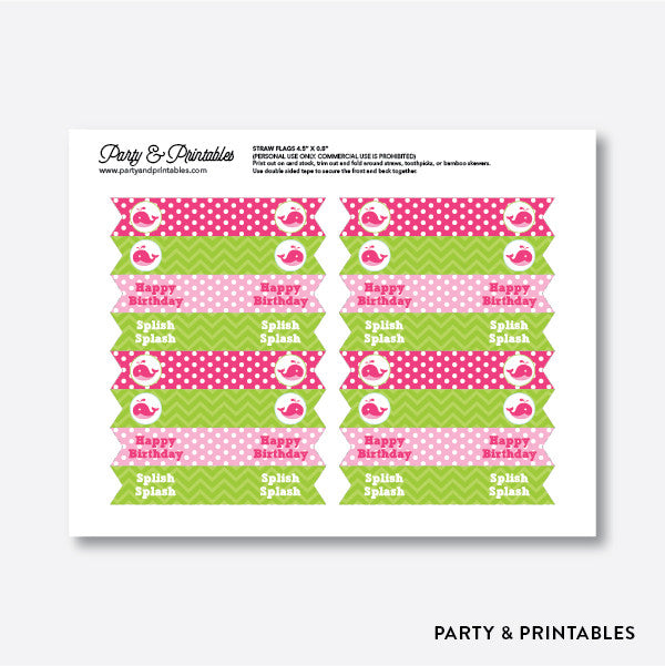 Whale Straw Flags / Non-Personalized / Instant Download (PKB.11), party printables - Party and Printables